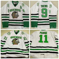 eishockey grüne trikots großhandel-North Dakota Fighting Sioux 9 Jonathan Toews College-Trikot Green White University 11 Zach Parise College-Eishockeytrikots Ice