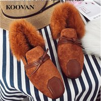 Wholesale square mouth shoes - Winter Loafer Classic Women Cotton Shoe Short Plush Inside Indoor Shoe 2017 Koovan Hot Sale Shallow Mouth Soft Bottom W423
