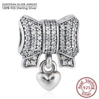 Pave CZ Bow Hearts Charm Beads Fits Pandora Braceletes 925 Sterling Silver Christmas Heart Bow-nó Bead Diy Winter Fine Jewelry