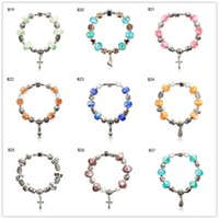 Wholesale Footed Glass Plate - Feet cross Tibetan silver glass beads Charm Bracelet,brand new fashion women's DIY European Beads bracelet 6 pieces a lot mixed style GTPDB3