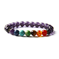 Wholesale Glass Strands - Hot Sale 7 Chakra Healing Stone Yoga Meditation Bracelet 8mm Purple Glass Beads With Natural Sediment, Tiger Eye Stone And Crystal Stretch