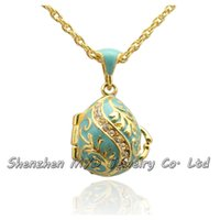 Wholesale Egg Necklace - Wholes high quality jewelry women Russian style crystal leaf tree Easter egg pendant locket necklace hand enamel Easter Day gifts
