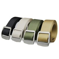Wholesale tactical belt webbing - Rockway Unisex Patent Lock Belt Healthy Titanium Buckle and Durable Nylon Webbing Freely Adjustable Detachable Buckle Tactical Belt