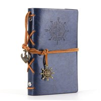 Wholesale A5 Journal - Wholesale- Leather Writing Journal Notebook A5 Vintage Nautical Spiral Blank String Daily Notepad Travel to Write in,Dark Blue