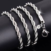 Wholesale Mix Mens Necklace - Mix Size 16-24inch 925 Sterling Silver pretty 3MM rope chain necklace Mens Necklace jewelry