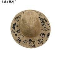 Wholesale Large Wide Visor - Wholesale-Summer Top Straw Hat Women Love Letter Embroidery Sun Visor Hat Large Brim in Women's Hats Foldable Bowler Caps Girls