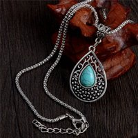 Wholesale Tibetan Turquoise Jewelry Wholesale - Wholesale-One Piece Vintage Trendy Jewelry Women's Necklace Tibetan Silver Plated Water Drop Turquoise Necklace Free Shipping