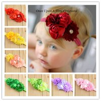 Wholesale Hair Bows Extensions - Hot style necessary Chiffon shabby flowers combined with foreign trade online Neonatal photograph props