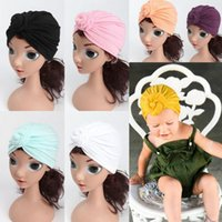 Wholesale Turban Baby Hat - INS Baby Knot Turban Hat Solid Fashion India Hats Elastic Kids Autumn Winter Beanies Infant Warm Boutique