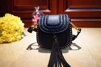 Wholesale Casual Messenger Bags For Women - 2017 Hot Sale Shoulder Bags Small Crossbody Bag For Women Handbags Genuine Leather Rivet Tassel Women Messenger Real Leather Bag With Weave