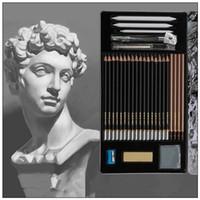 Wholesale Sketch Eraser - Sketch Pencil Set Sketching Case Beginners Carbon Pencil Professional Drawing Pen Charcoal Eraser Cutter Kit Bag Art Craft CCA7869 20set