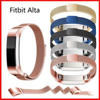 Wholesale Kinds Watch Strap - 7 kinds Colour Straps For Fitbit Alta Magnetic Milanese Loop Watch Wristbands Straps Band Metal Stainless Steel Mesh With Connector Adapter