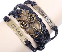 große lederarmbänder für männer großhandel-Vielzahl von Lederaccessoires geflochten Armband großen Augen Eule antiken Accessoires für Männer und Frauen Modeschmuck Armband