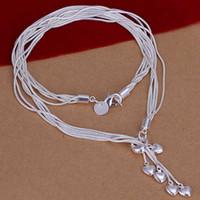 beaux pendentifs élégants achat en gros de-Chaude femmes élégantes Five Heart 925 Sterling Silver Necklace avec pendentif Belle # R571