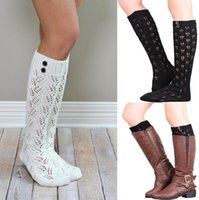 Wholesale Wholesale Hollow Knee Boots - knee high long socks leg warmer hollow boot cuffs boot socks for women ladies cotton crochet socks boot socks free shipping