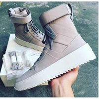 Wholesale High Top Leather Military Boots - FEAR OF GOD FOG Military High-Top Sneakers Nubuck Outdoor Boots Fog Jerry Lorenzo Kanye black Nylon running shoes