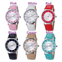 Wholesale Student Dresses - Unisex geneva leather watch simple design fashion mens women ladies quartz dress casual students wrist watches 2016 wholesale