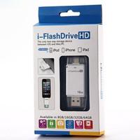 lector de tarjetas usb para ipad al por mayor-Tarjeta de memoria extendida para teléfono móvil 8G / 16G / 32G / 64G Lector de tarjeta de memoria para unidad flash USB i-FlashDrive para iPhone7 / 6 iPad iOS