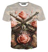 Wholesale t shirt guns roses - 2016 fashion women men short sleeve 3d t shirt funny print Rose flower 2 Gun T-shirt summer novelty tee shirts clothes camisetas