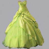 Wholesale Cheap Lime Green Gowns - In Stock Lime Green Quinceanera Dresses 2016 Sweetheart Beaded Ruffles Sweet Sixteen Girls Party Prom Dress Masquerade Ball Gowns Cheap