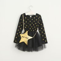 Wholesale Korean Kid Fashion Wholesale - Girls Dress Christmas Kids Clothing 2016 Winter Long Sleeve Lace Tutu Dress Korean Fashion Star Dress with Bag MC-619-