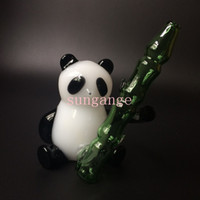 Wholesale Panda Gifts Boxes - 2016 Newest glass smoking pipes Creative Panda style glass pipes glass pipe height 11 cm free shipping