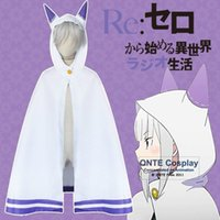 Wholesale Anime Elf Ears - Anime Zero kara Hajimeru Isekai Seikatsu Emilia Elf Cosplay Cat Ear Cape Cloak