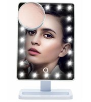 Wholesale Mirror Lamp - Adjustable Vanity Tabletop Lamp 20 LEDs Lighted LED Touch Screen Mirror Makeup Portable Mirror Luminous 180 Rotating Mirror