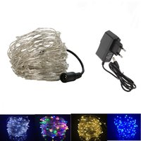 Al por mayor-20M 200Led Silver Copper Wire LED String Fairy Starry Lights para boda fiesta de Navidad con 12V adaptador de corriente