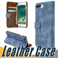 Wholesale Luxury Iphone Sleeve - Luxury Retro Breathable Mesh Card Pocket Holder Leather Case Protective Sleeve For iPhone 8 7 6 6S Plus Sumsung S8 Plus S7 Edge Note8