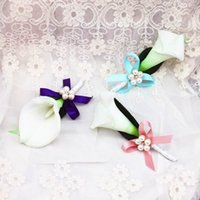 Wholesale Calla Lily Accessories - Lovely Calla Lily Flowers Wedding Groomsman Brooch For Men Wedding Party Wear Decoration Bridegroom Corsage Accessories Wedding Supplier
