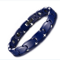 Wholesale Hematite Magnets Wholesale - Blue Ceramic Hematite magnets bracelet Brand Design Fashion Health Energy Care Bracelets Bangles Men Bio Magnetic Bracelet 20CM Jewelry
