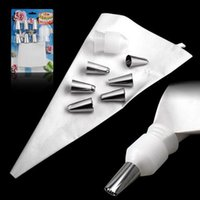 Wholesale Cake Mouth Nozzle - 6PCS Cake Tools Decorating Mouth Converter Icing Piping Nozzles Tips and Bags Converter Set with1 Decorating bag +1 Converter