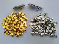 Wholesale Copper Holders - Gold&Silver for Military Police Club Jewelry HatBrass Lapel Locking Pin Keepers Backs Savers Holders Locks No Tools Required Clutch Clasp