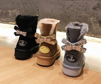 Wholesale One Button Boot - NEW winter Classic bailey drill button bow Style Women Rhinestone Snow Boots Winter High quality One Bowtie snow Boots women winter shoes