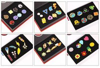 Wholesale pokemon gift set - Hot Poke Metal Badge Brooch Poke mon Zinic Alloy Brooch Toy Action Figure PokéMon Go Pocket Monster Game 8pcs set Halloween Christmas Gifts