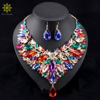 Wholesale Womens Gold Filled Earring Sets - New Arrival African Jewelry Sets Wedding Necklace Womens Jewellery Set Gold Plated Necklace And Earrings 6Colors
