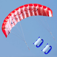 NUOVO 1.4 m Power Kite Outdoor FUN Giocattoli Parafoil Parachute DUAL LINE surf RED