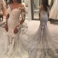 Wholesale split front mermaid wedding dress - Gorgeous Mermaid Lace Wedding Dresses Illusion Long Sleeves Sheer Neck Back with Button Court Train Arabic Bridal Gowns Plus Size Cutomized