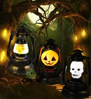 Wholesale Halloween Lights Lantern Ghost - 2016 Halloween decoration Trick toys Mini pumpkin lantern light with sound Ghost witch hand lamp Battery power supply for children gift
