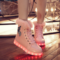 Wholesale Colorful Winter Boots Women - 2016 autumn and winter snow boots shoes short plush fluorescent luminous LED lamp charging colorful USB light shoes wholesale
