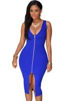 Wholesale Clubwear Plus - 2016 Summer Vestidos Gold Zipper Front Deep V Neck Split Midi Dress Women Plus Size Sexy Party Clubwear Bandage Bodycon Dress S-4XL 60399