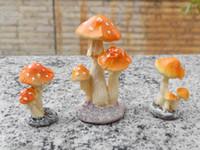 Wholesale Mushroom Seeds - Mushrooms Ornament Miniature Resin Toadstools Mushrooms Garden Ornament Decor Plant Pots Diy Craft Planters Seeds For Gardening