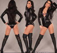 Wholesale Leather Lingerie Models - Factory direct Siamese black leather models in Europe and America of the original single sexy lingerie wholesale