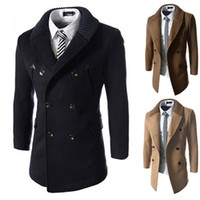 Wholesale wool trench coats for men - Wool Trench Coat Slim Men British Wild Style Double Breasted Trench Long Pea Coat Lapel Neck Solid Trench Coat For Mens J160908