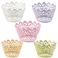 Wholesale Baby Birthday Decor - 120pcs Laser Cut Cupcake Wrapper Liners Bakeware Muffin Paper Cup Cake Wedding Gift Box Birthday Favor Baby Shower Kitchen Home Bar Decor
