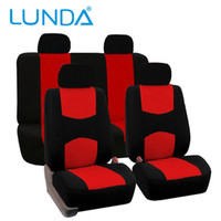 LUNDA Set Flat Cloth Mesh / Red, Black Grey Set coprisedili auto - Airbag compatibile Universal Fit for Car, Truck Suv o Van