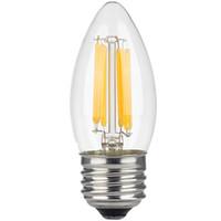 Wholesale 6w Led Equivalent - Dimmable 6w LED Edison Filament Candle 4-Watt (60-Watt Equivalent), Filament Chandelier Bulb, Medium Base (E26), 2700K (Warm Glow)