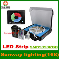 Wholesale Color Change Rope Lighting - 16.4ft 5M Waterproof Rope Lights 300 LED 5050 SMD Color Changing RGB+12V 5A Power Supply+44 Key Remote+IR Controller-Muliti-color