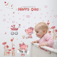 DIY Wall Sticker Pink Cat Poppies Flowers Love Heart Wall Decal Decoração para casa Happy Day Cartoon Wall Poster
